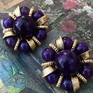Vintage Purple & Gold Earrings Jewelry